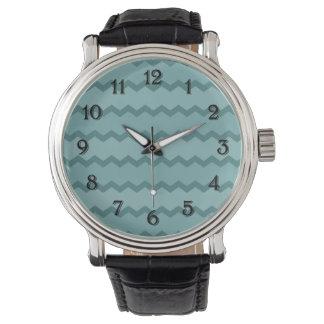 自然なティール(緑がかった色)シェブロン 腕時計