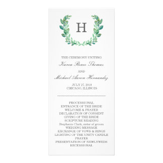 自然なリースの結婚式プログラム ラックカード