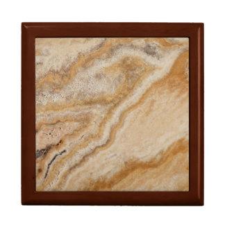 自然な大理石の背景の石のテンプレートタン ギフトボックス
