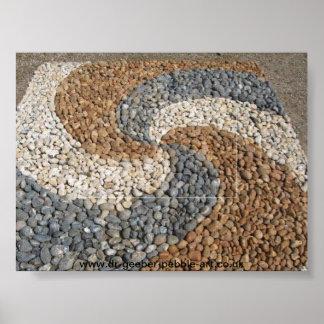 自然な小石の螺線形 ポスター