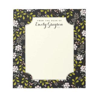 自然な森林花の名前入りなメモ帳 ノートパッド