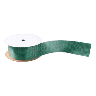 自然な編まれた真新しい緑のバーラップのサック・クロス サテンリボン
