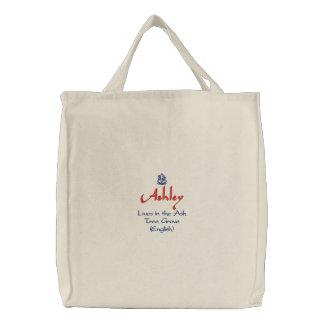 自然な英国の意味のAshleyの名前 刺繍入りトートバッグ