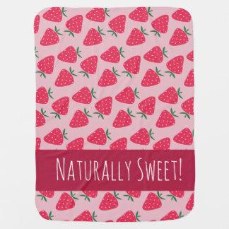 自然に甘いいちごの女の赤ちゃん毛布 ベビー用毛布