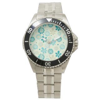自然のターコイズの抽象芸術の日光の花柄パターン 腕時計