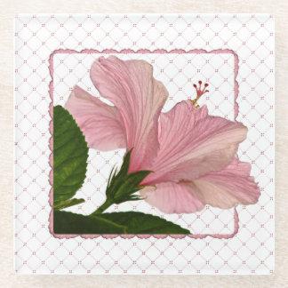 自然の写真撮影-ピンクのハイビスカスの写真の正方形 ガラスコースター