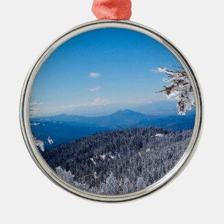 自然の冬Moutain上のVeiw メタルオーナメント