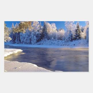 自然の川の氷の流れ 長方形シール