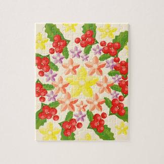 自然の栄光: 素晴らしく赤い果実パターン ジグソーパズル
