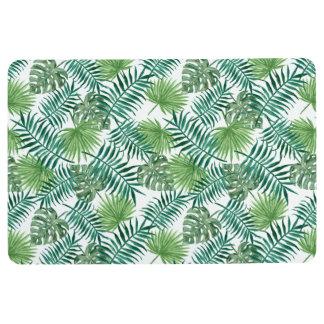 自然の水彩画の熱帯緑の葉のフロアマット フロアマット