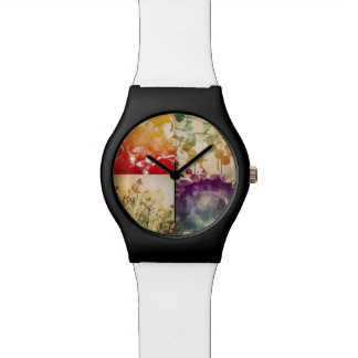 自然の水彩画の腕時計 腕時計