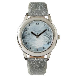 自然の銀のグリッターの腕時計 腕時計