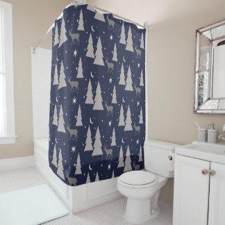自然パターンシカの木の月は青の灰色を主演します シャワーカーテン