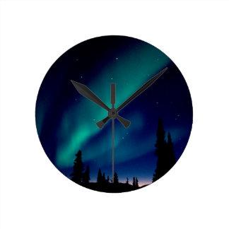 自然力のオーロラBorealisアラスカ ラウンド壁時計