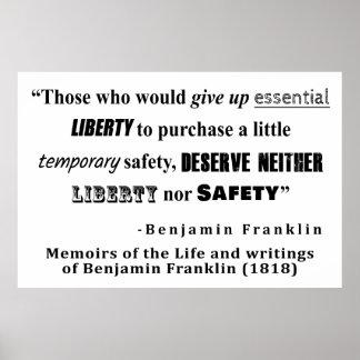 自由および保証ベンジャミン・フランクリンの引用文 ポスター