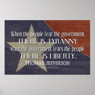 自由および専制政治のジェファーソンの引用文 ポスター