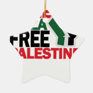 自由で安全なガザパレスチナG.png セラミックオーナメント