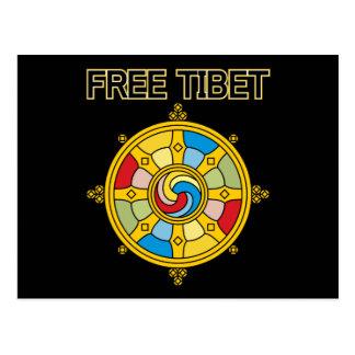 自由なチベットDharmacakra ポストカード