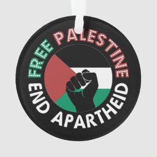 自由なパレスチナの終わりのアパルトヘイトの旗の握りこぶしの黒 オーナメント
