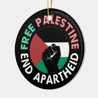 自由なパレスチナの終わりのアパルトヘイトの旗の握りこぶしの黒 セラミックオーナメント