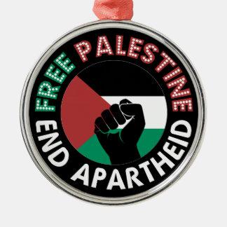 自由なパレスチナの終わりのアパルトヘイトの旗の握りこぶしの黒 メタルオーナメント