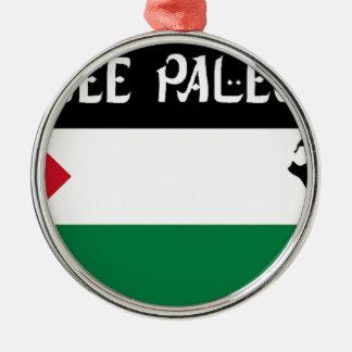自由なパレスチナ- فلسطينعلم -パレスチナの旗 メタルオーナメント