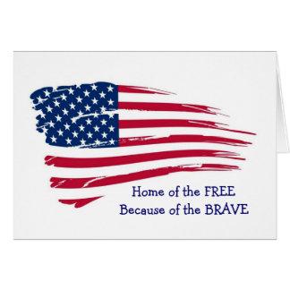 自由な波状の旗の家 グリーティングカード