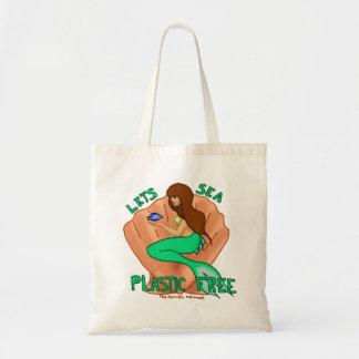 自由な海のプラスチックを許可します! ティール(緑がかった色)の人魚の戦闘状況表示板 トートバッグ