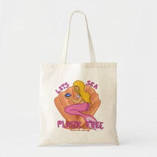 自由な海のプラスチックを許可します! ピンクの人魚の戦闘状況表示板 トートバッグ