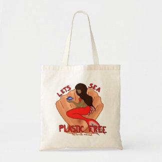 自由な海のプラスチックを許可します! 赤い人魚の戦闘状況表示板 トートバッグ