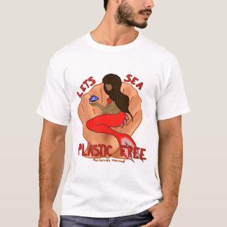 自由な海のプラスチックを許可します! 赤い人魚 Tシャツ
