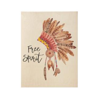 自由な精神のネイティブアメリカンの羽の頭飾り ウッドポスター
