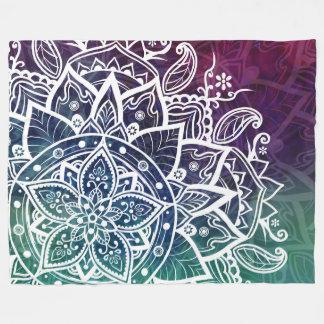 自由な精神の曼荼羅の紫色の青緑 フリースブランケット