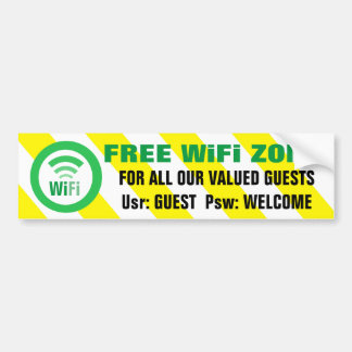 自由なWiFiの地帯の警告標識 バンパーステッカー
