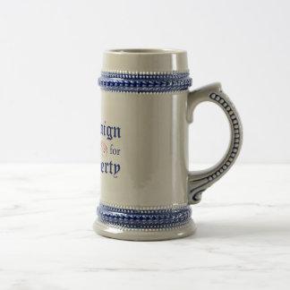 自由のロゴの青ステインのためのキャンペーン ビールジョッキ