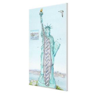 自由の女神の断面イラストレーション キャンバスプリント