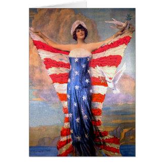 自由の愛国心が強い米国旗のヴィンテージの女性 カード