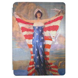 自由の愛国心が強い米国旗のヴィンテージの女性 iPad AIR カバー