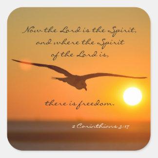 自由の聖書の詩、日没の鳥の飛行 スクエアシール