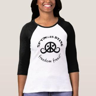 自由のTシャツ(fem。 3/4long袖; SpyDieFree) Tシャツ