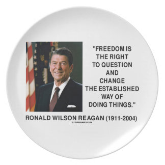 自由は変更のレーガンの引用文に質問して右です プレート