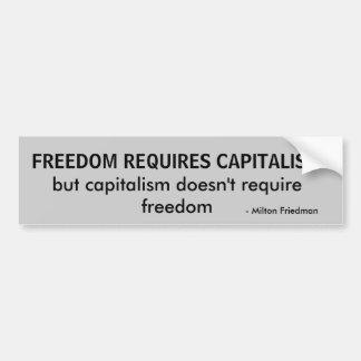 自由は資本主義、資本主義の雌ジカを…要求します バンパーステッカー