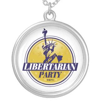 自由主義的な政党のロゴ シルバープレートネックレス