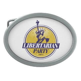 自由主義的な政党のロゴ 卵形バックル