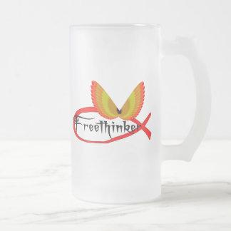 自由思想の魚の記号 フロストグラスビールジョッキ