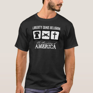 自由、銃、宗教 Tシャツ