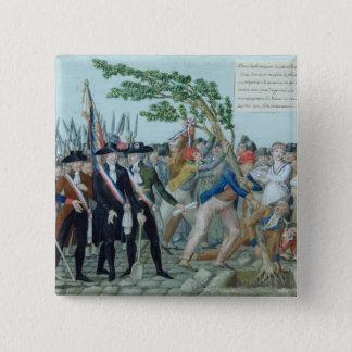 自由、c.1789の木の植わること 5.1cm 正方形バッジ