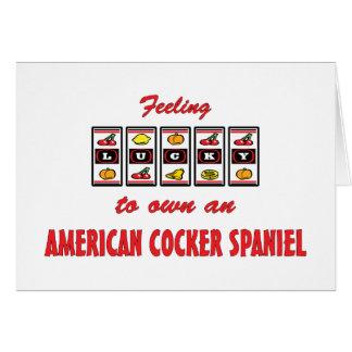 自身に幸運アメリカン・コッカー・スパニエル犬のデザイン カード