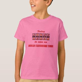 自身に幸運アメリカ(犬)スタッフォードテリア Tシャツ