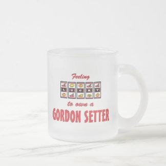 自身に幸運ゴードンセッターのおもしろい犬のデザイン フロストグラスマグカップ